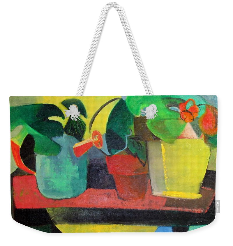 Potting Stand Weekender Tote Bag featuring the painting Cezanne Potting Stand by Betty Pieper
