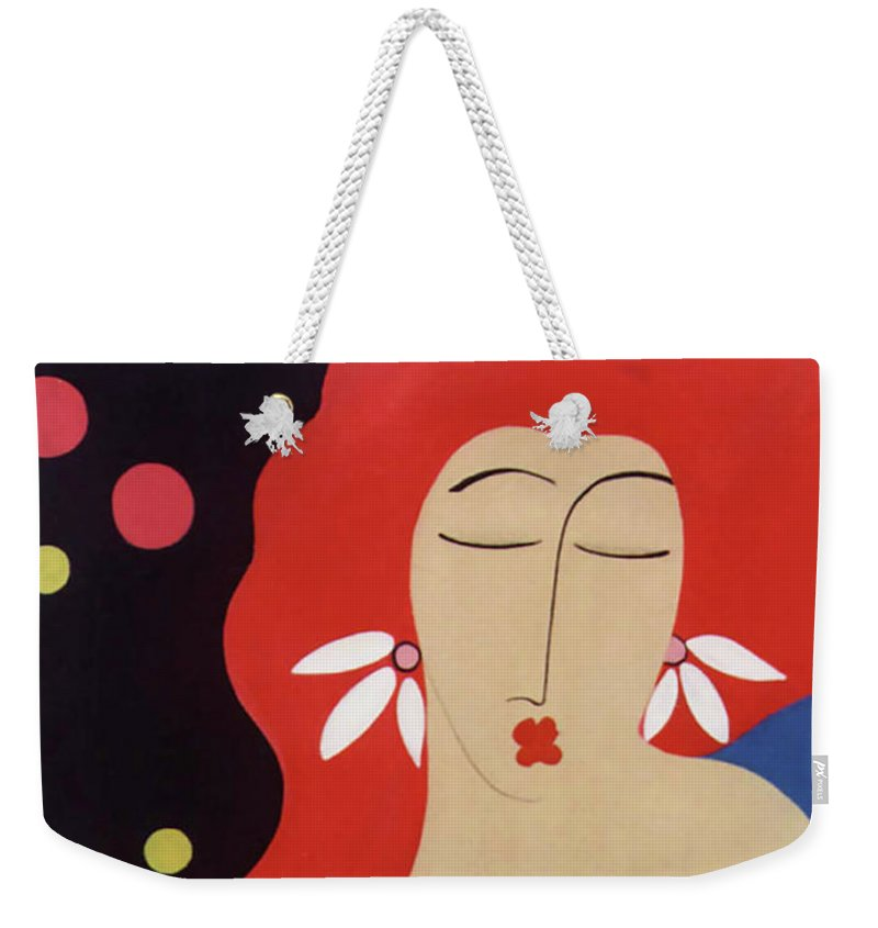 #female Weekender Tote Bag featuring the painting Cha Cha by Jacquelinemari