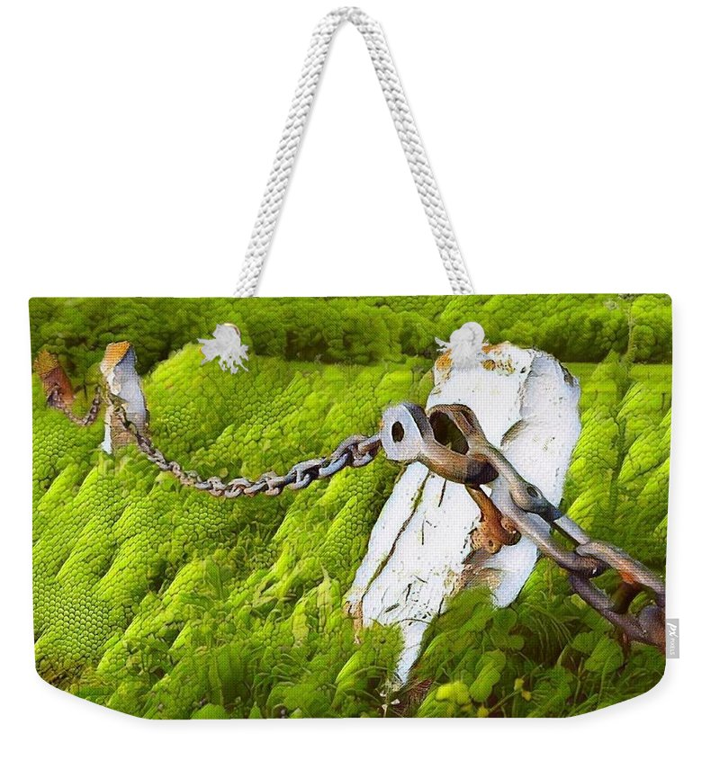 Field Weekender Tote Bag featuring the digital art Chain Reaction by Ellen Cannon