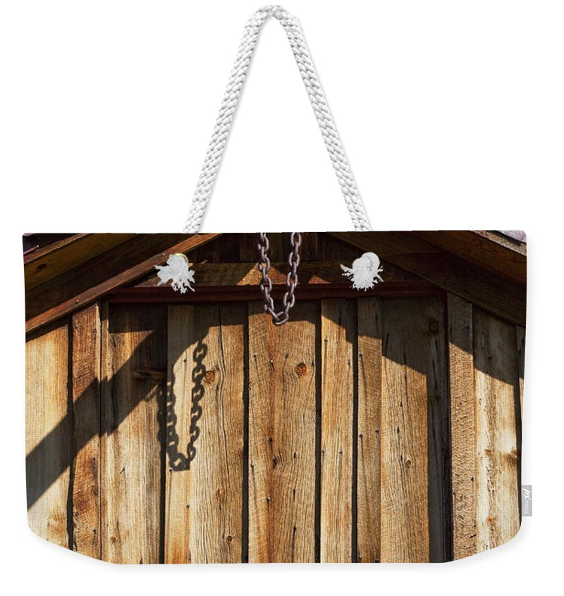 Wooden Structure Weekender Tote Bag featuring the photograph Chain Up by Kelley King