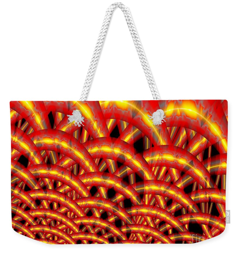 Chainmaille Weekender Tote Bag featuring the digital art Chainmaille by Ron Bissett