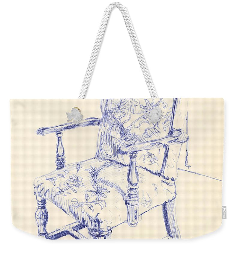 Chair Weekender Tote Bag featuring the drawing Chair by Ron Bissett