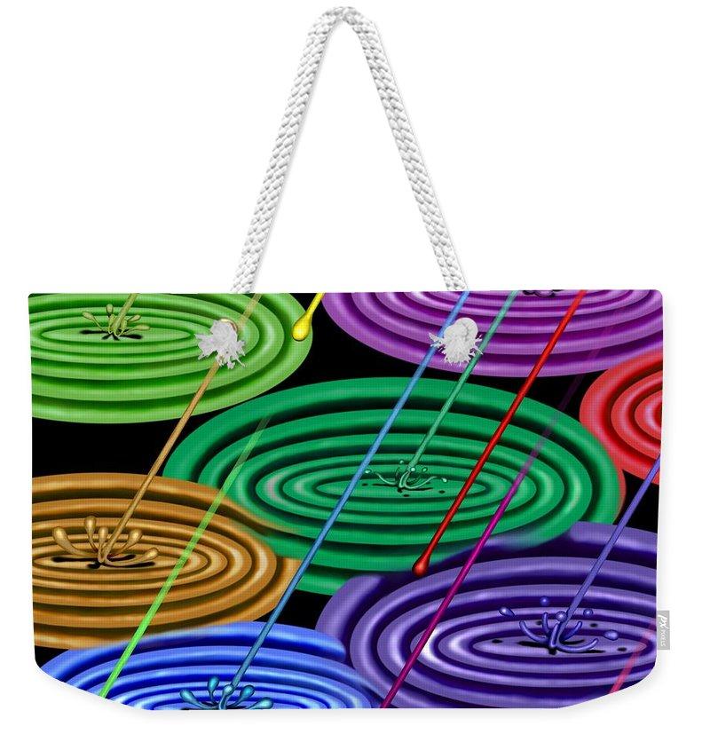 Surrealism Weekender Tote Bag featuring the digital art Chakra Shower I by Robert Morin