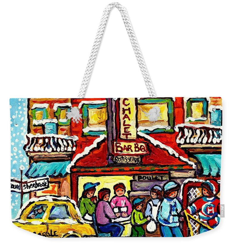 Montreal Weekender Tote Bag featuring the painting Chalet Bbq Montreal Snowy Winter Street Scene Street Hockey Art Canadian Artist Carole Spandau by Carole Spandau