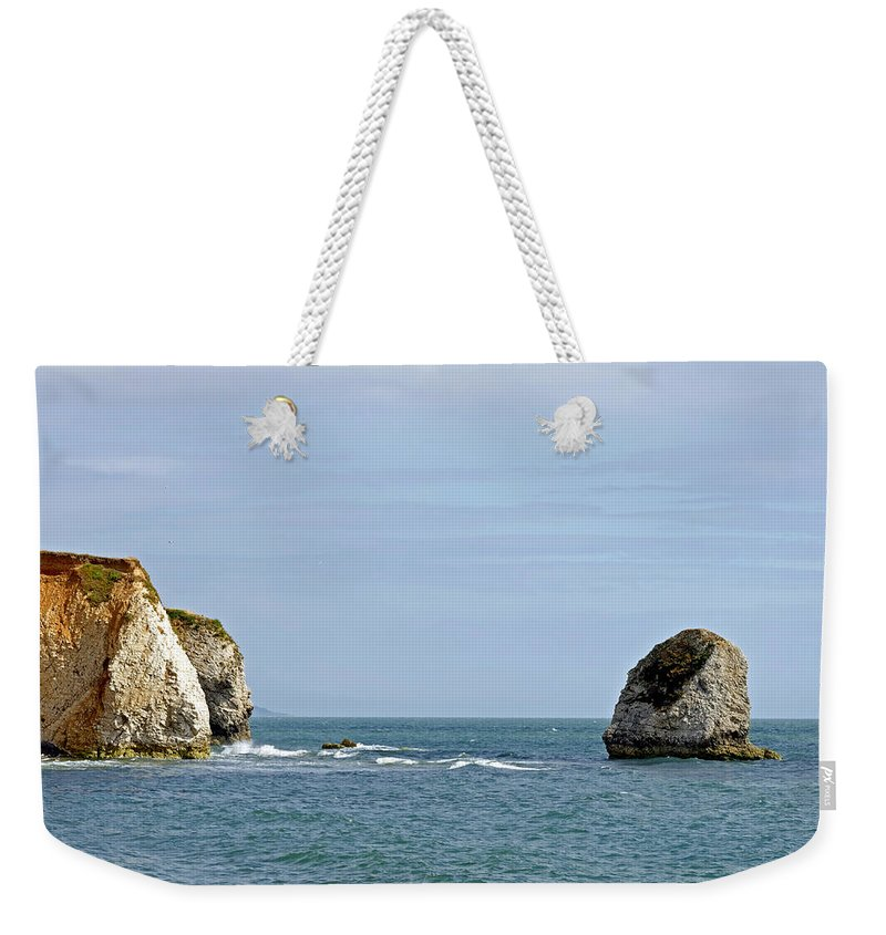 Freshwater Bay Weekender Tote Bag featuring the photograph Chalk Cliffs At Freshwater Bay by Rod Johnson