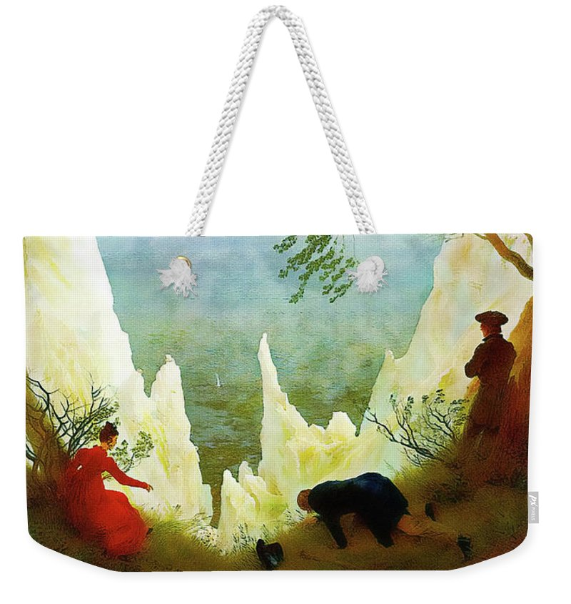 Landscape Weekender Tote Bag featuring the painting Chalk Cliffs On Rugen by Media Impasto Paper