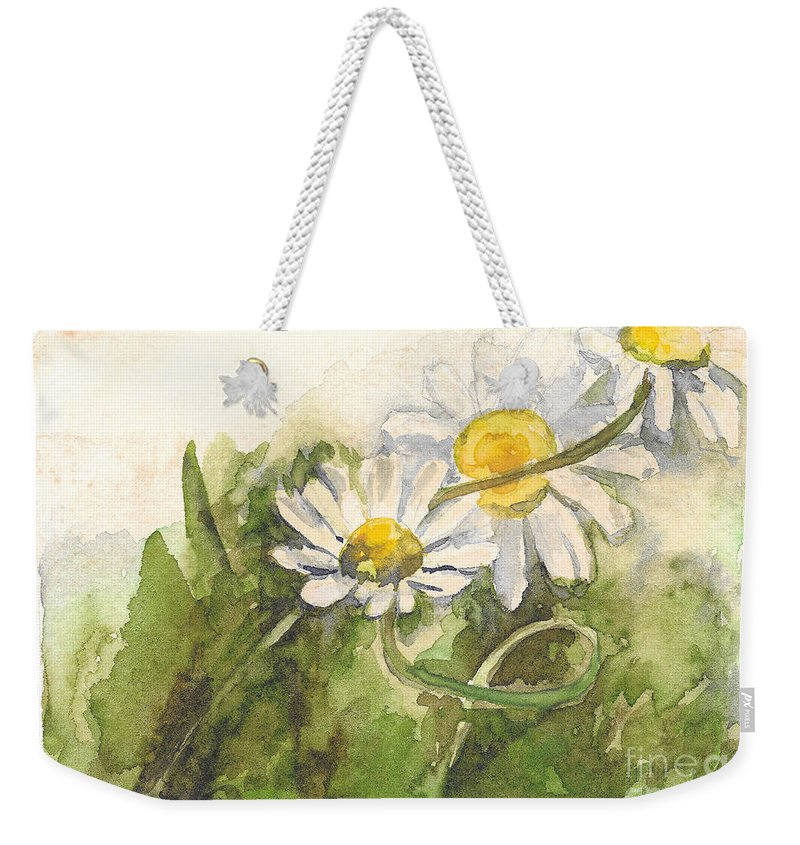Chamomile Weekender Tote Bag featuring the painting Chamomile by Yana Sadykova