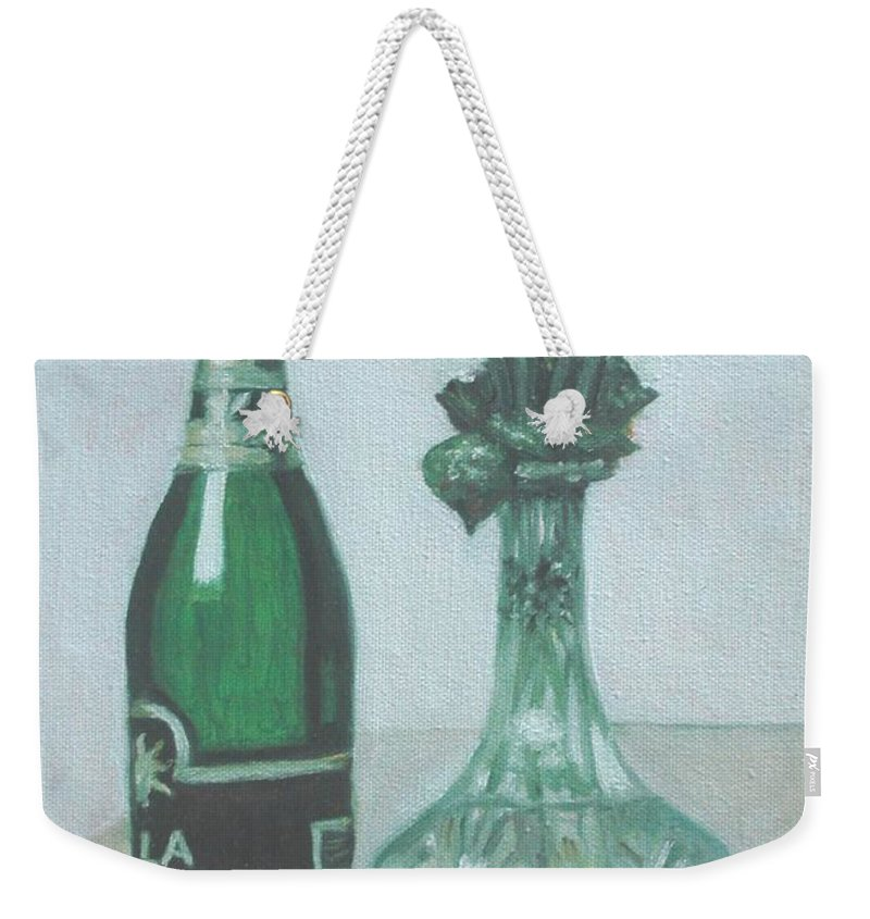 Champagne Weekender Tote Bag featuring the painting Champagne And Roses by Usha Shantharam