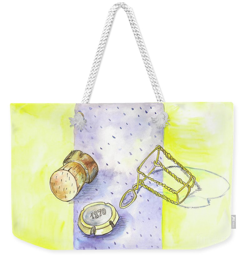 Champagne Weekender Tote Bag featuring the painting Champagne by Yana Sadykova