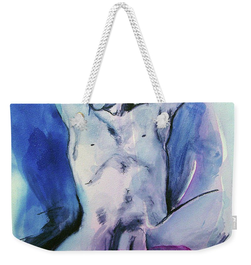 Nude Boy Weekender Tote Bag featuring the painting Chance by Rene Capone