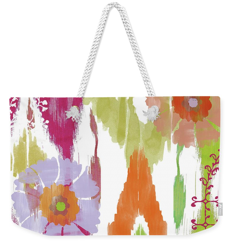 Ikat Weekender Tote Bag featuring the painting Chanda I by Mindy Sommers