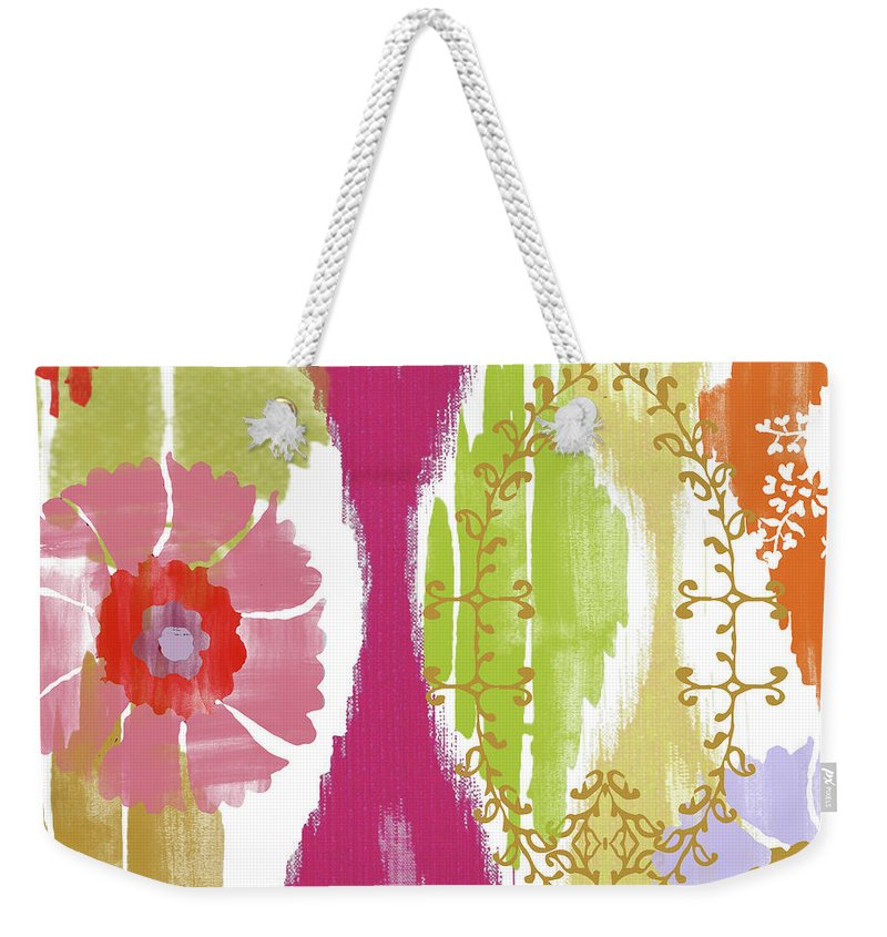 Ikat Weekender Tote Bag featuring the painting Chanda II by Mindy Sommers
