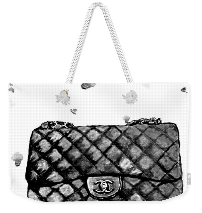 ba205eaea44e Chanel Bag Weekender Tote Bag featuring the painting Chanel Bag With  Dripping by Del Art