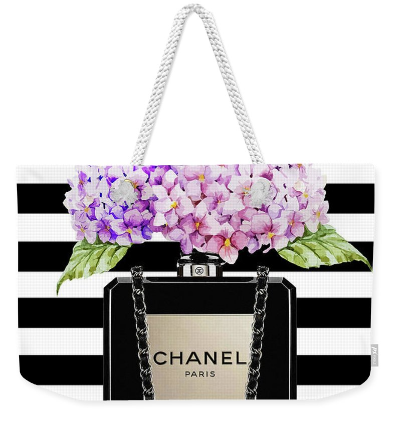 69511d0b2b36ba Chanel Bag With Lila Hydragenia On Strips Weekender Tote Bag for Sale by Del  Art
