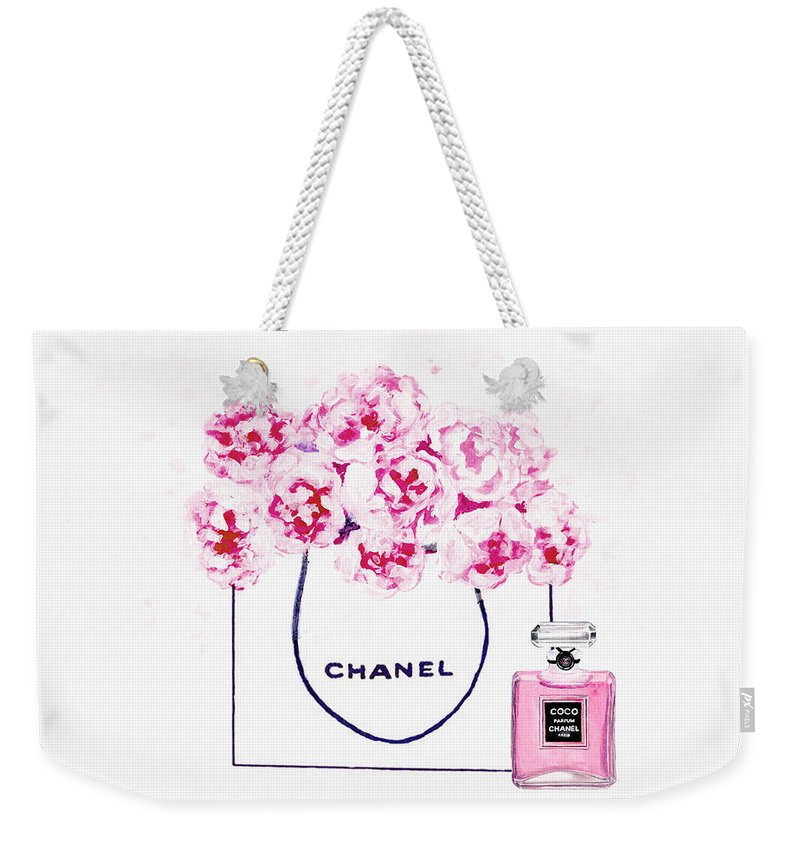 b879aa713c9b Chanel Poster Weekender Tote Bag featuring the painting Chanel Bag With Pink  Peonys by Del Art