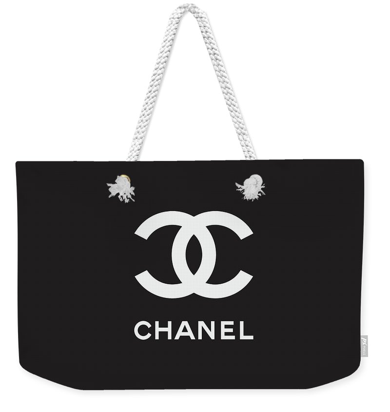 Chanel Weekender Tote Bag featuring the digital art Chanel - Black And White 03 - Lifestyle And Fashion by TUSCAN Afternoon