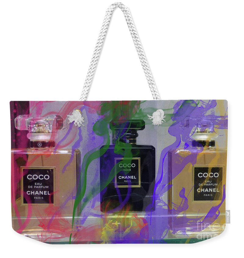 Chanel Coco Weekender Tote Bag featuring the mixed media Chanel Coco Abstract by To-Tam Gerwe
