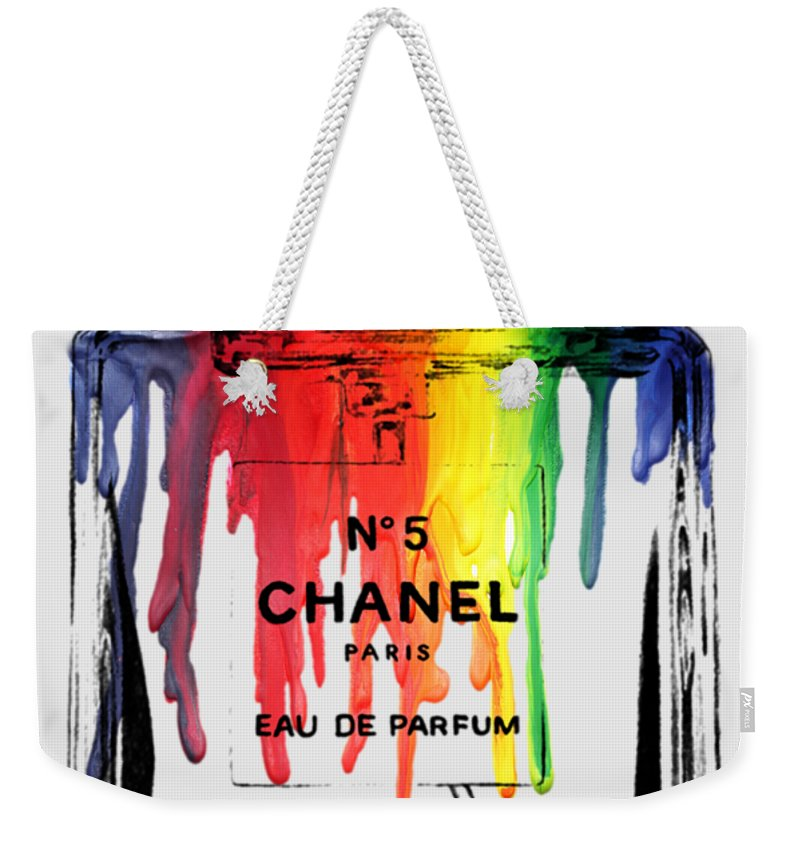 Bottle Weekender Tote Bag featuring the painting Chanel by Mark Ashkenazi