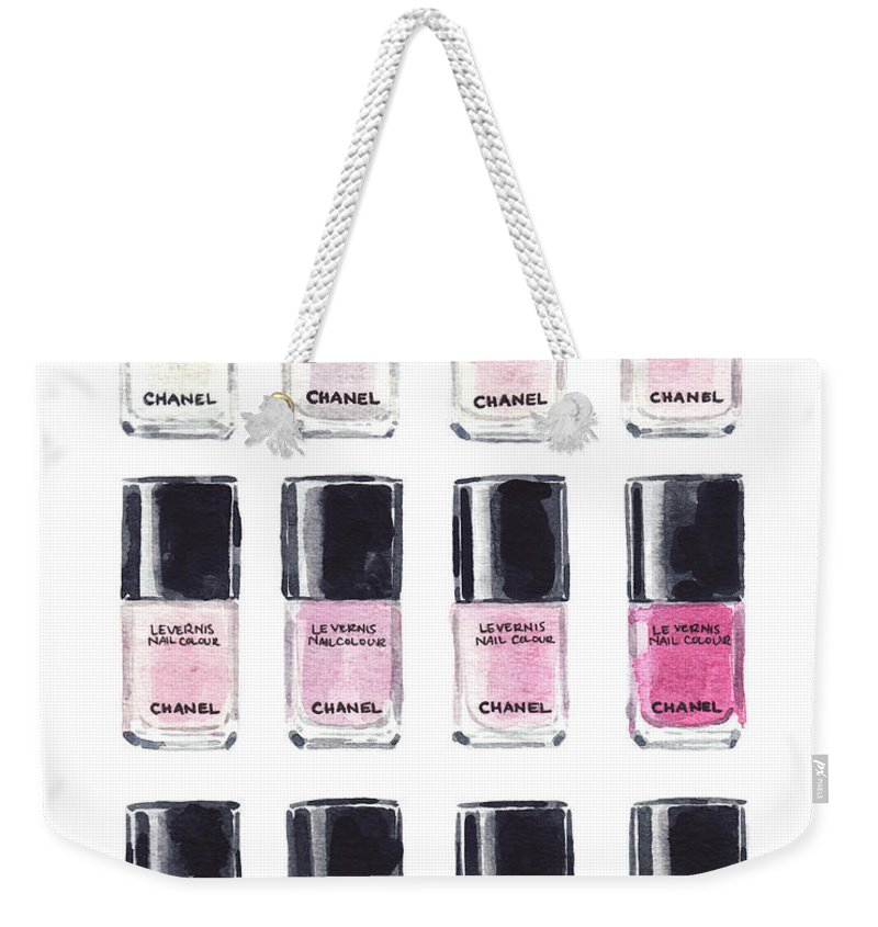 0e48539a9d31 Chanel Weekender Tote Bag featuring the painting Chanel Nail Polish Pink  Red Art Print Watercolor Fashion