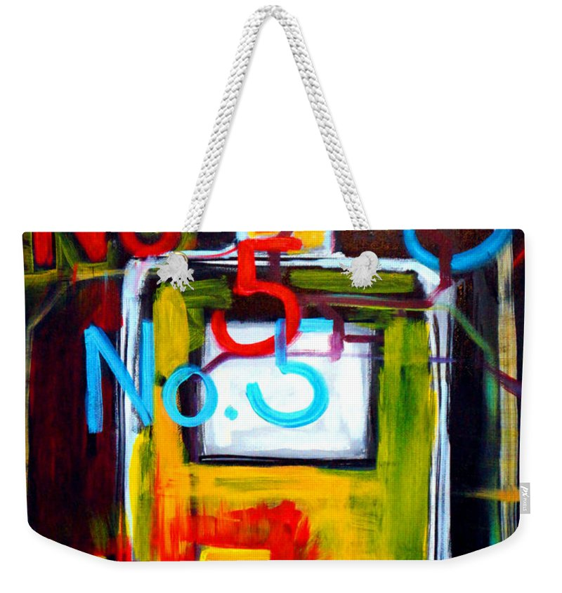 Chanel Weekender Tote Bag featuring the painting Chanel No. 5 by Katy Hawk