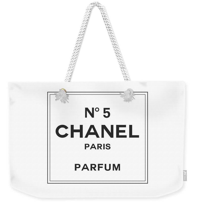 1cc3ac597e7 Chanel Weekender Tote Bag featuring the digital art Chanel No 5 Parfum -  Black And White