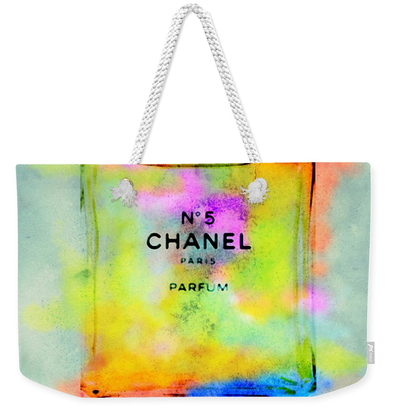 Chanel Weekender Tote Bag featuring the painting Chanel No.5 by Diana Van