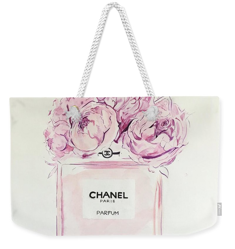 Chanel Weekender Tote Bag featuring the painting Chanel Peonies by Anna Shogren