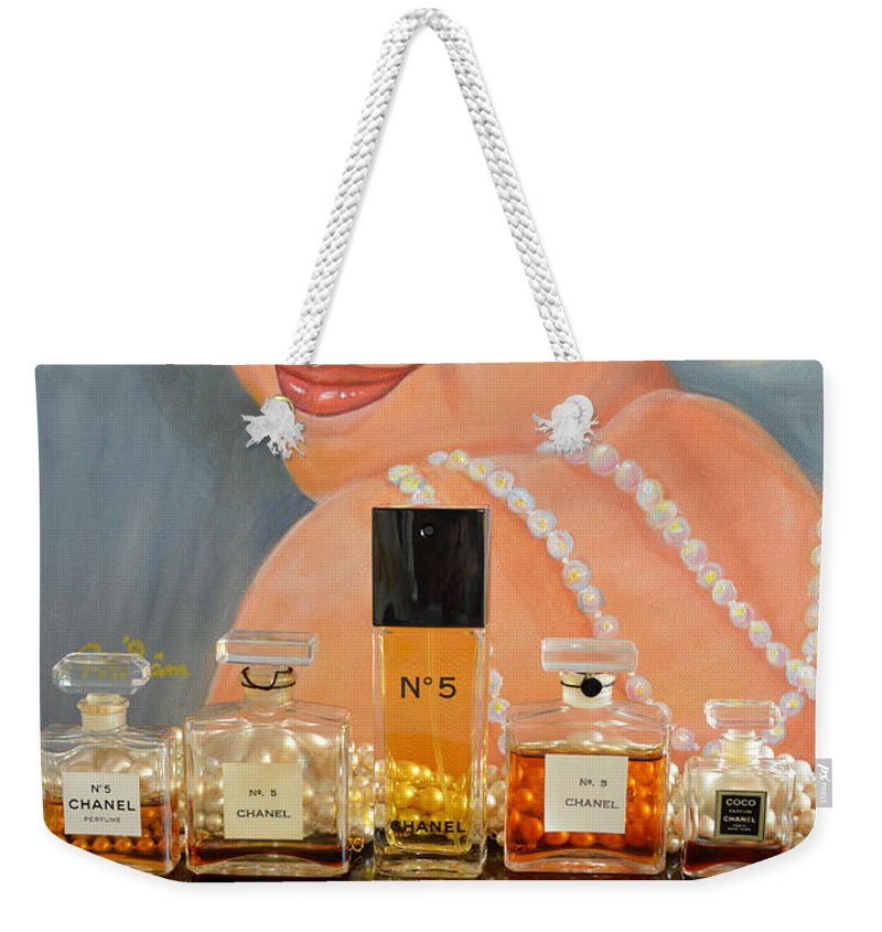 Chanel No 5 Weekender Tote Bag featuring the mixed media Chanels With Marilyn Monroe by To-Tam Gerwe