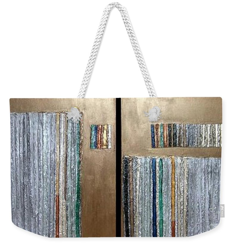Decorative Weekender Tote Bag featuring the mixed media Channeling by Marlene Burns