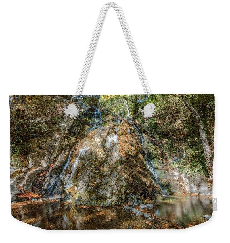 Chantara Waterfalls Weekender Tote Bag featuring the photograph Chantara Waterfalls - Cyprus by Joana Kruse