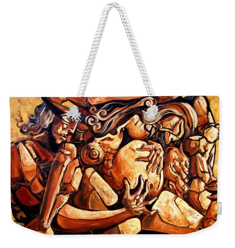 Surrealism Weekender Tote Bag featuring the painting Chaos After The News by Darwin Leon