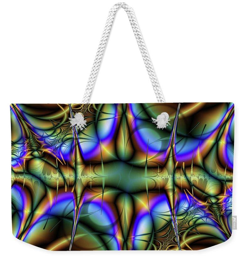 Fractal Weekender Tote Bag featuring the digital art Chaos by Debra Martelli
