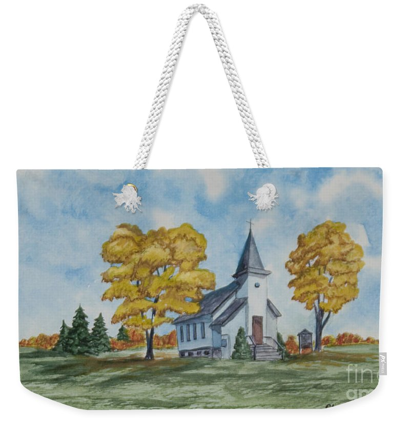 Fall Weekender Tote Bag featuring the painting Chapel In Fall by Charlotte Blanchard