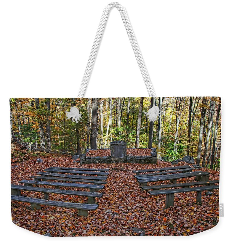 Loree Chapel Weekender Tote Bag featuring the photograph The Chapel In The Park by Allen Beatty