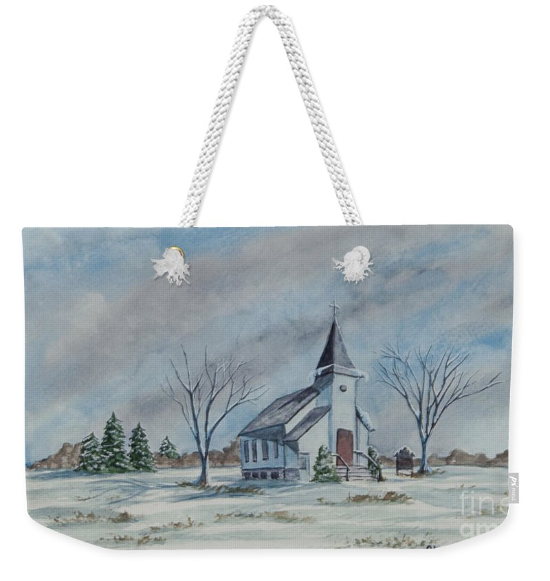 Country Church Weekender Tote Bag featuring the painting Chapel In Winter by Charlotte Blanchard
