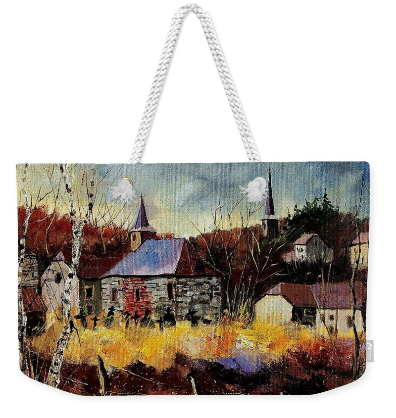 Landscape Weekender Tote Bag featuring the painting Chapelle D'havenne by Pol Ledent