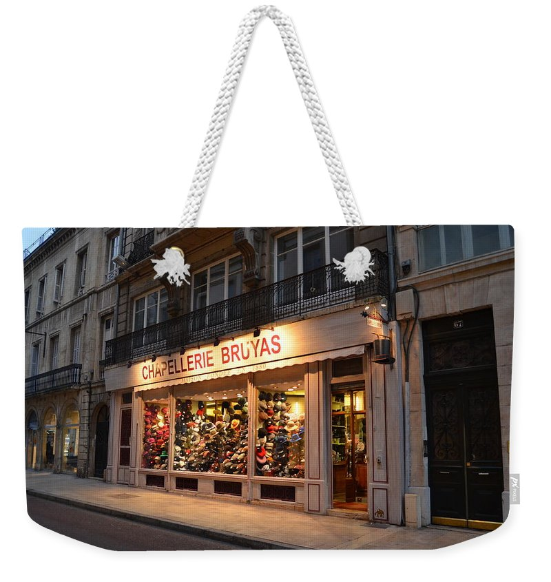 Chapellerie Bruyas Weekender Tote Bag featuring the photograph Chapellerie Bruyas Hat Store by Dawn Crichton