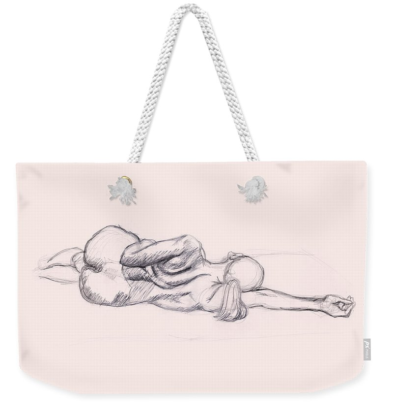 Shadows Weekender Tote Bag featuring the drawing Charcoal Pencil Drawing Of  Nude Woman 39189c2a417ec