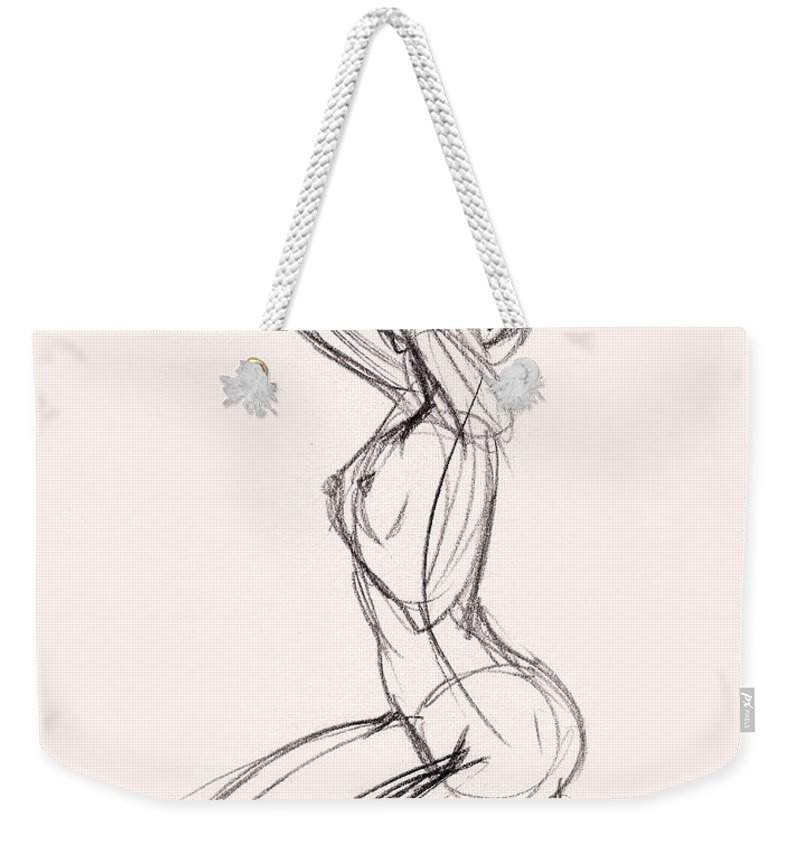Sketch Weekender Tote Bag featuring the drawing Charcoal Sketch Of Nude  Woman Kneeling by Whiskey- 3318cc67bf37c