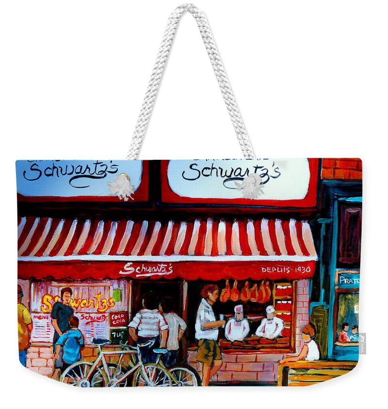 Schwartzs Weekender Tote Bag featuring the painting Charcuterie Schwartz's Deli Montreal by Carole Spandau