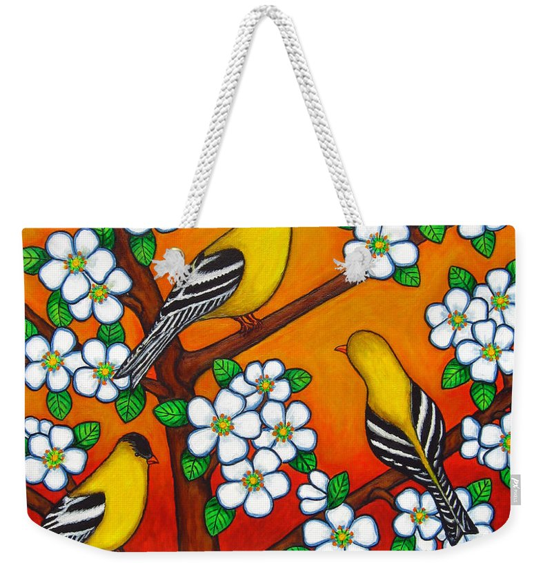 Goldfinch Weekender Tote Bag featuring the painting Chardonnay Sunset by Lisa Lorenz