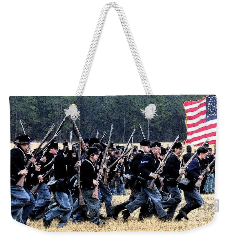 Civil War Weekender Tote Bag featuring the painting Charge by David Lee Thompson