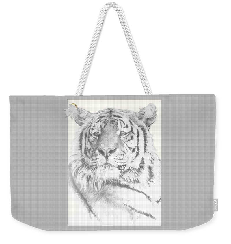 Tiger Weekender Tote Bag featuring the mixed media Charisma by Barbara Keith