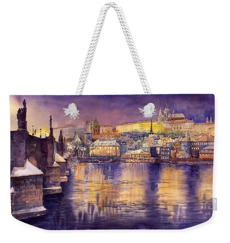 Cityscape Weekender Tote Bag featuring the painting Charles Bridge and Prague Castle with the Vltava River by Yuriy Shevchuk