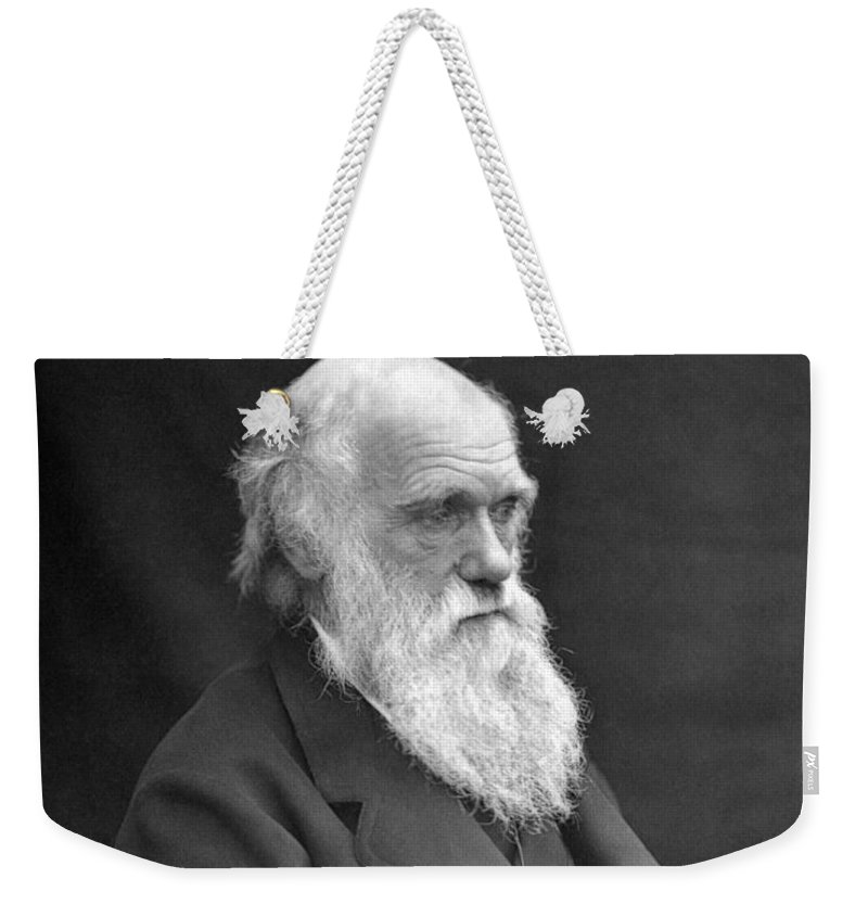 Darwin Weekender Tote Bag featuring the photograph Charles Darwin Portrait - 1874 by War Is Hell Store