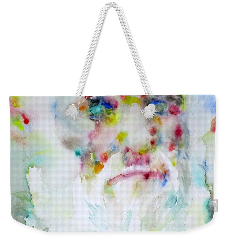 Charles Darwin Weekender Tote Bag featuring the painting Charles Darwin - Watercolor Portrait.5 by Fabrizio Cassetta