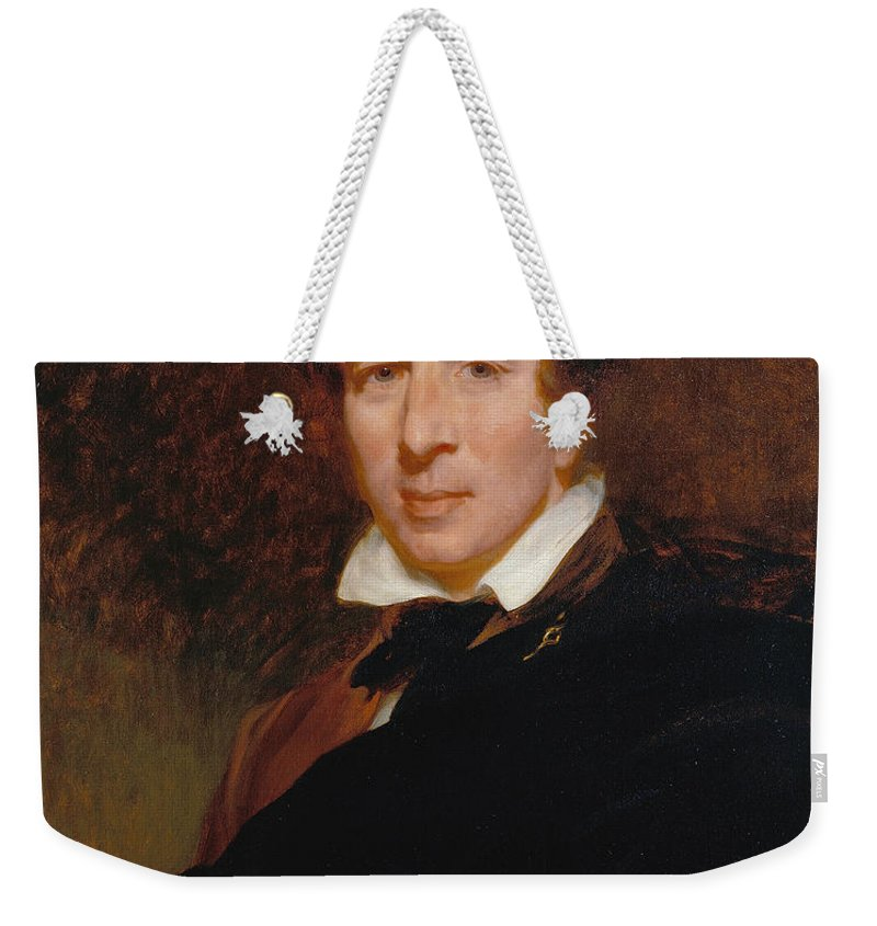Henry Perronet Briggs Weekender Tote Bag featuring the painting Charles Kemble by Henry Perronet Briggs