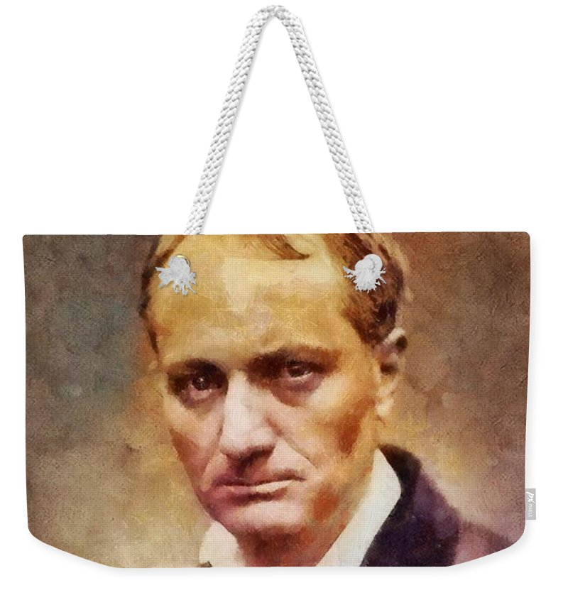 Writer Weekender Tote Bag featuring the painting Charles Pierre Baudelaire, Literary Legend by Sarah Kirk