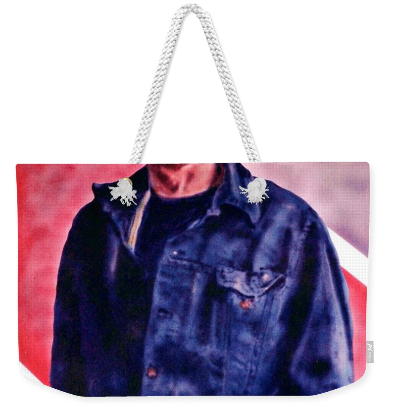 Charles Weekender Tote Bag featuring the painting Charles by Ron Bissett