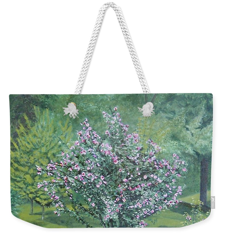 Blooming Weekender Tote Bag featuring the painting Charles Street by Leah Tomaino